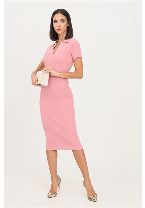 Pink women's dress by glamorous midi cut knitted model GLAMOROUS | Dress | CA0158PINK