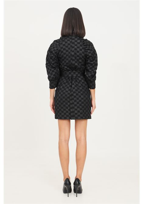 Black dress by glamorous with belt at the waist, short cut GLAMOROUS | Dress | GS0262BLACL CHECKERBOARD