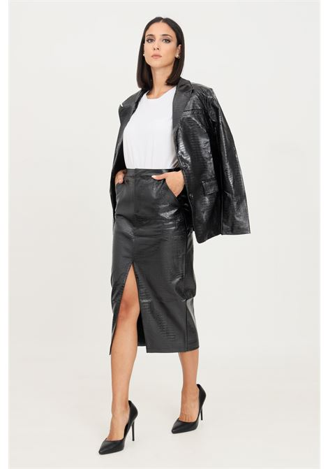 Black midi skirt by glamorous crocodile effect GLAMOROUS | Skirt | GS0347BLACK PATENT CROC