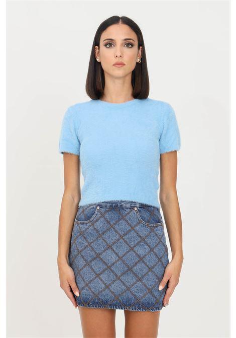 Light blue women's sweater by glamorous crew neck model with short sleeve GLAMOROUS | Knitwear | TM0219AZURE BLUE