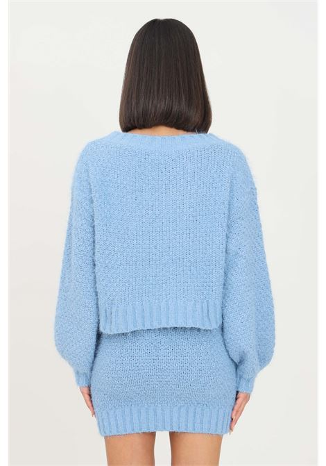Light blue women's sweater by glamorous crew neck model GLAMOROUS | Knitwear | TM0248HERITAGE BLUE