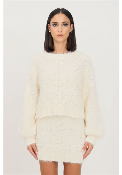 White women's sweater by glamorous crew neck model GLAMOROUS | Knitwear | TM0248OFF WHITE
