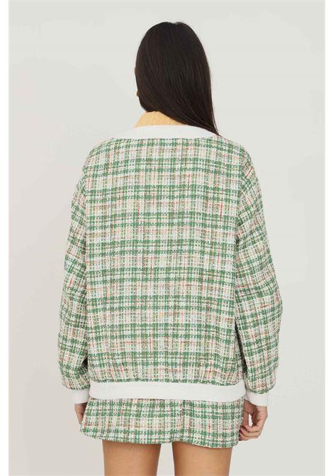 Cardigan donna a fantasia verde glamorous con tasche frontali GLAMOROUS   Cardigan   TM0405GREEN TWEED WHITE