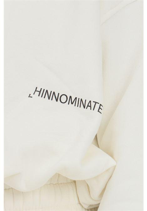 Felpa donna bianco hinnominate girocollo con elastico sul fondo HINNOMINATE | Felpe | HNWSFCO28OFF WHITE
