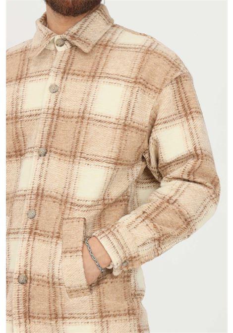 Camicia beige uomo i'm brain a tema quadri I'M BRIAN | Camicie | CA19470025
