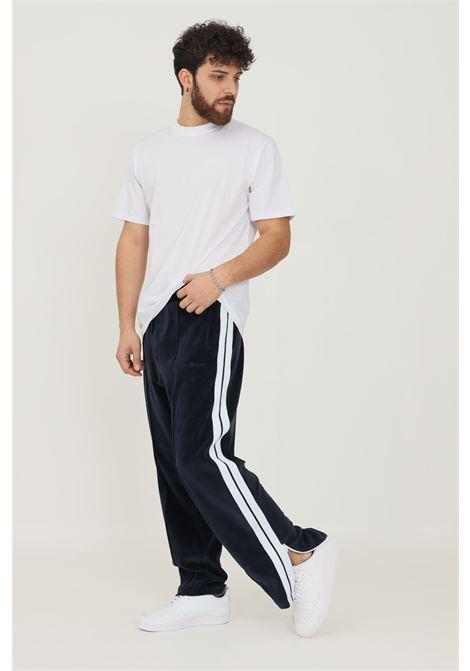 Pantaloni uomo blu i'm brian in velluto casual con bande laterali a contrasto I'M BRIAN | Pantaloni | PF1911005