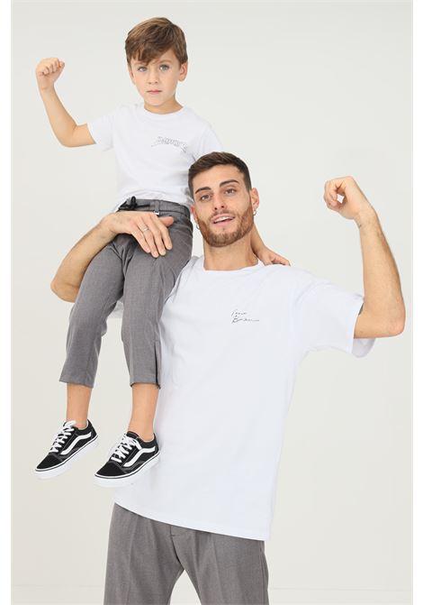T-shirt uomo bianco i'm brian a manica corta con logo frontale a contrasto I'M BRIAN | T-shirt | TS1925OFF