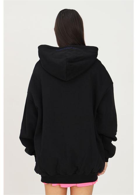 Felpa donna nero irene is good con cappuccio e ricami multicolor sul davanti IRENE IS GOOD | Felpe | 21FW-IGHO014BLACK