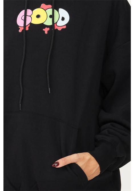 Felpa donna nero irene is good con cappuccio e stampa multicolor IRENE IS GOOD | Felpe | 21FW-IGHO015BLACK