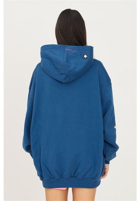 Felpa donna blu irene is good con cappuccio e stampa frontale IRENE IS GOOD | Felpe | 21FW-IGHO016BLUE
