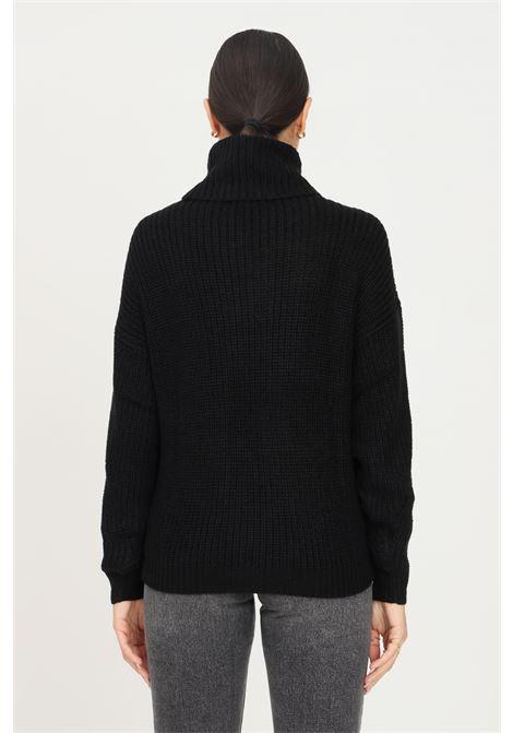 Maglione donna nero jaqueline de young a collo alto con trafori jaqueline de young | Maglieria | 15234111BLACK