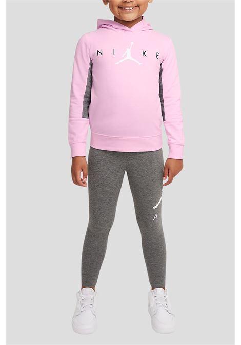 Tuta completa bambina rosa jordan, felpa con cappuccio JORDAN | Tute | 35A952GEH