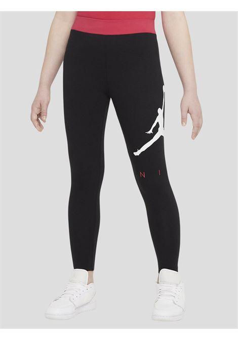 Leggings bambina nero jordan con logo laterale a contrasto JORDAN | Leggings | 45A762023