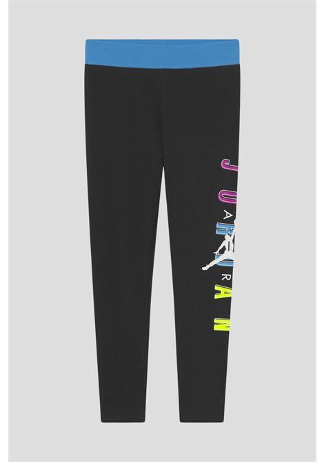 Leggings bambina nero jordan con logo laterale a contrasto JORDAN | Leggings | 45A814023