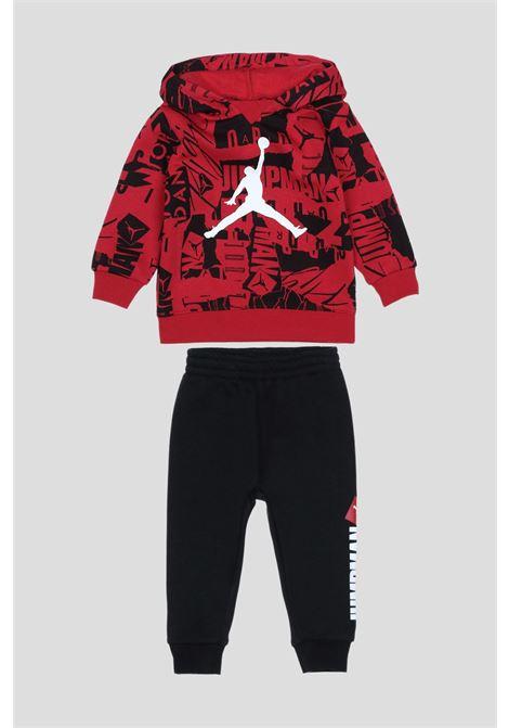 Tutina neonato rosso nero jordan con maxi logo frontale a contrasto JORDAN | Tute | 65A729R78