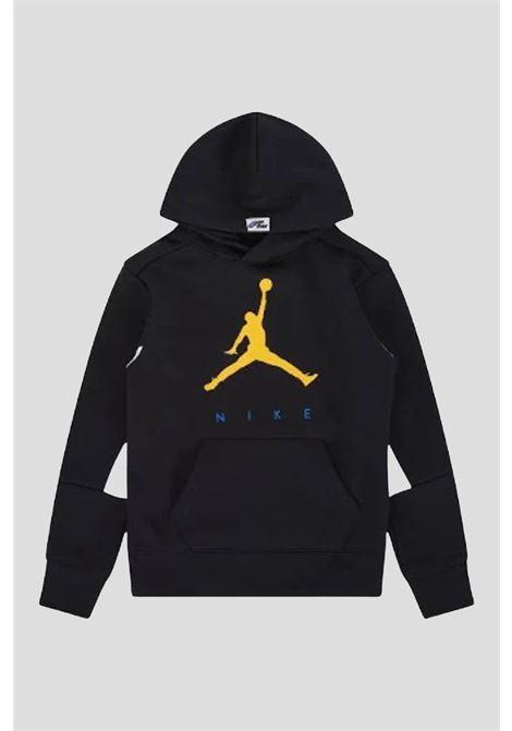 Felpa bambino unisex nero jordan con cappuccio e logo frontale a contrasto JORDAN | Felpe | 95A675023