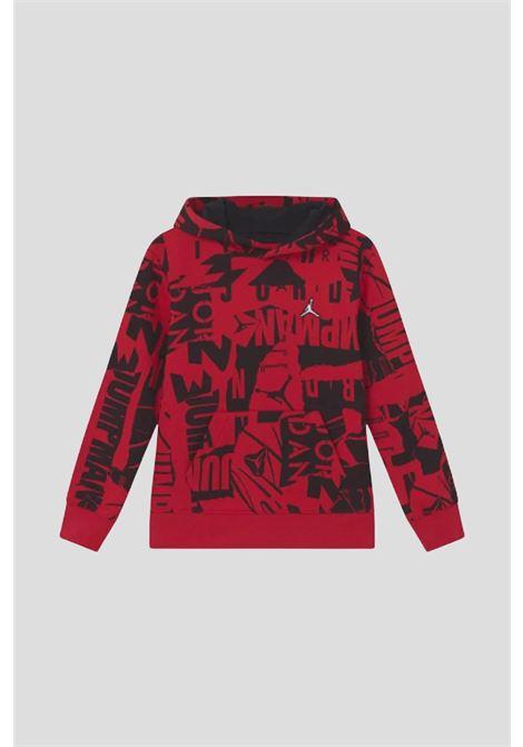 Red baby hoodie by jordan with allover logo print JORDAN | Sweatshirt | 95A712R78