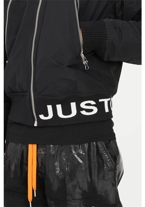 Black men's jacket by just cavalli with elastic logo band in contrast JUST CAVALLI | Jacket | S03AM0364961