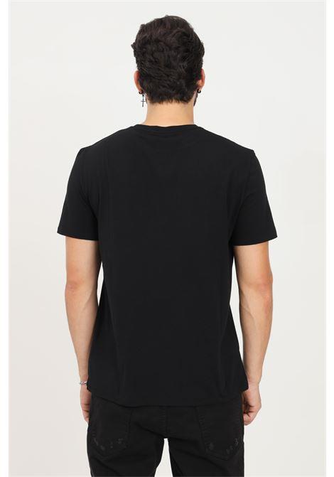 T-shirt uomo nero just cavalli a manica corta con stampa logo multicolor JUST CAVALLI   T-shirt   S03GC0636900