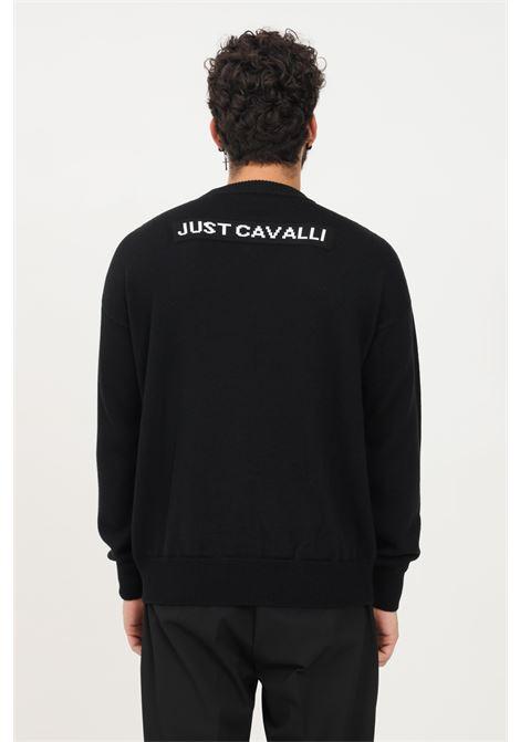 Maglioncino uomo nero just cavalli a girocollo con immagine frontale JUST CAVALLI   Maglieria   S03HA0450900J