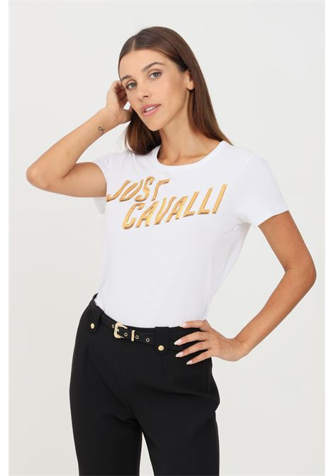 White women's t-shirt by just cavalli with print on the front short sleeve JUST CAVALLI | T-shirt | S04GC0402100