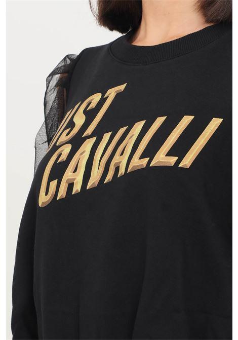 Black women's sweatshirt by just cavalli, crew neck model with transparency on the sleeves JUST CAVALLI | Sweatshirt | S04GU0115900