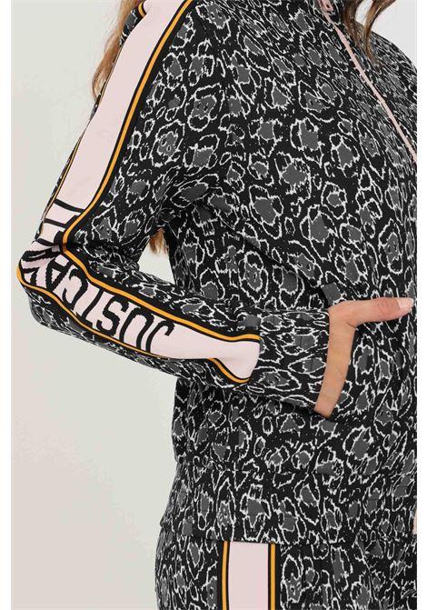 Black women's sweatshirt by just cavalli with zip and animal print JUST CAVALLI | Sweatshirt | S04HG0053900J