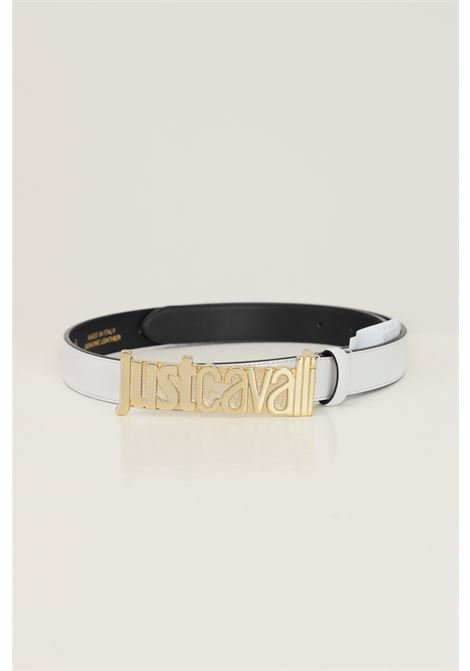 White women's belt by just cavalli with maxi gold logo buckle JUST CAVALLI | Belt | S11TP0280100