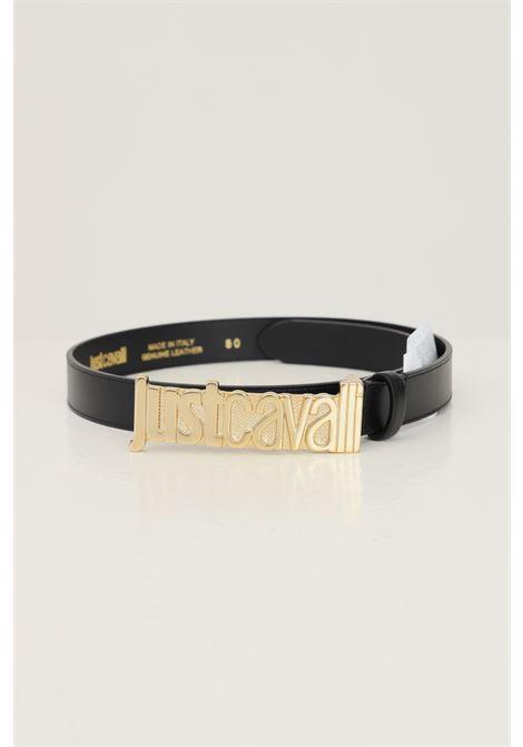 Black women's belt by just cavalli with maxi gold logo buckle JUST CAVALLI | Belt | S11TP0280900