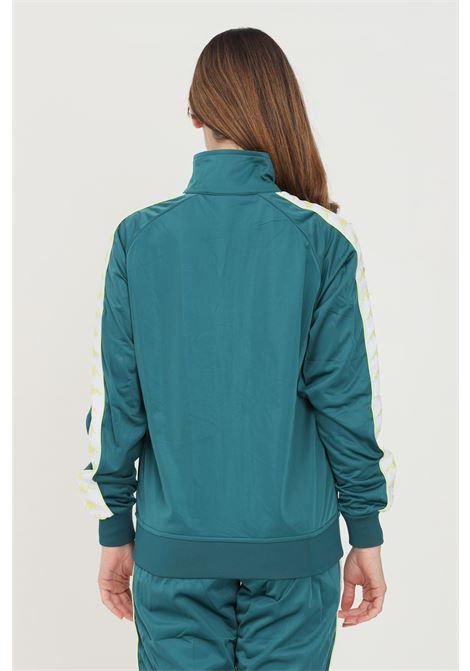 Felpa unisex verde kappa con zip e bande logo a contrasto KAPPA | Felpe | 301EFU0A5F