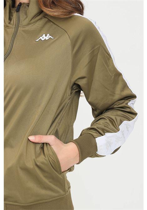 Felpa unisex verde kappa con zip e bande logo a contrasto KAPPA | Felpe | 301EFU0BX2