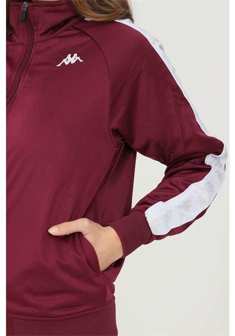 Felpa unisex bordeaux kappa con zip e bande logo a contrasto KAPPA   Felpe   301EFU0BX5
