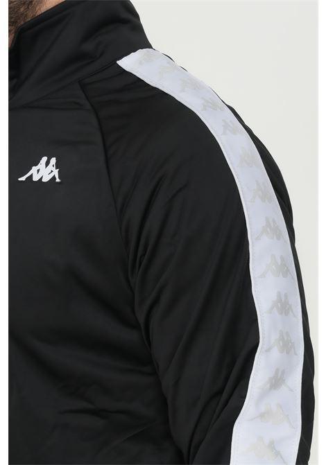 Felpa unisex nero kappa con zip e bande logo a contrasto KAPPA | Felpe | 301EFU0BX9