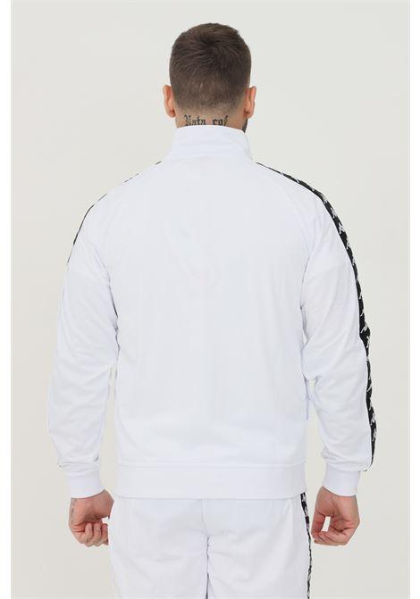 Felpa unisex bianco kappa con zip e bande logo a contrasto KAPPA | Felpe | 301EFU0C89