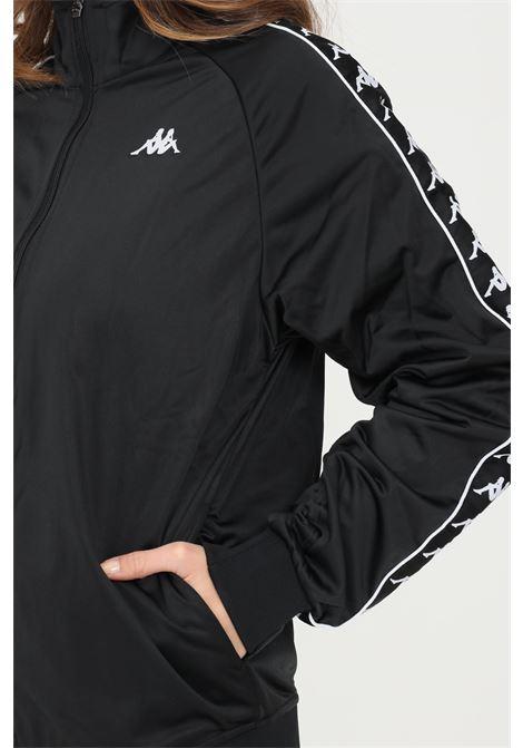 Felpa unisex nero kappa con zip e bande logo a contrasto KAPPA   Felpe   301EFU0F66