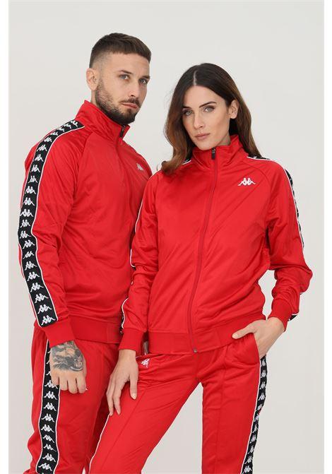 Felpa unisex rosso kappa con zip e bande logo a contrasto KAPPA | Felpe | 301EFU0F67