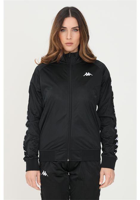 Felpa donna nero kappa con zip e bande logo KAPPA | Felpe | 301PSC0C1B