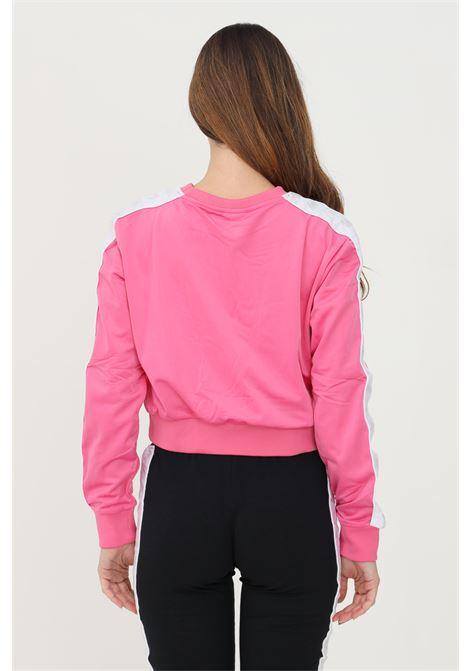 Felpa donna rosa kappa taglio corto con bande logo a contrasto KAPPA | Felpe | 3031UV0BXQ
