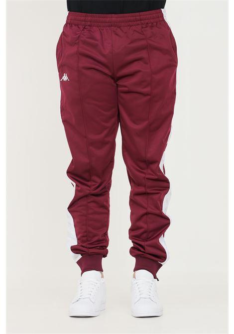 Pantaloni unisex bordeaux kappa sport con bande logo laterali KAPPA | Pantaloni | 303KUC0BX5