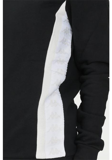Felpa unisex nero kappa con cappuccio fisso e bande logo KAPPA | Felpe | 311BGTWBX7