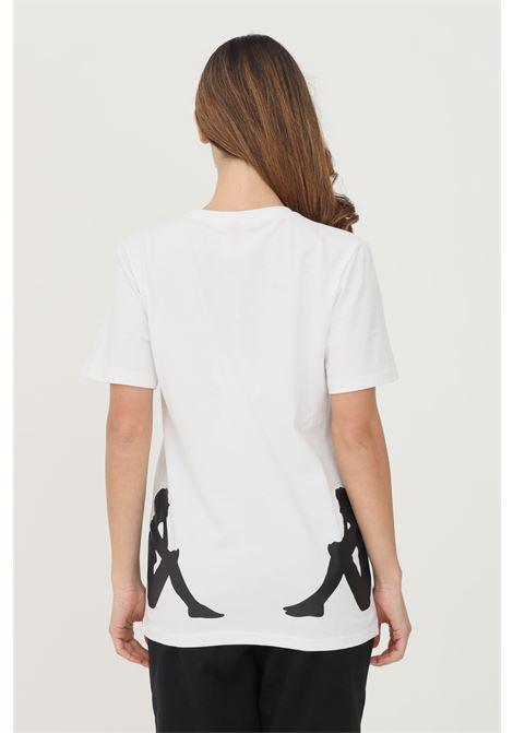 T-shirt unisex bianco kappa a manica corta con maxi profilo logo a contrasto KAPPA | T-shirt | 321158WA1X