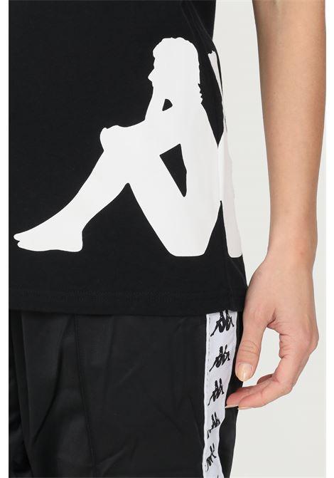 T-shirt unisex nero kappa a manica corta con maxi profilo logo a contrasto KAPPA | T-shirt | 321158WA33