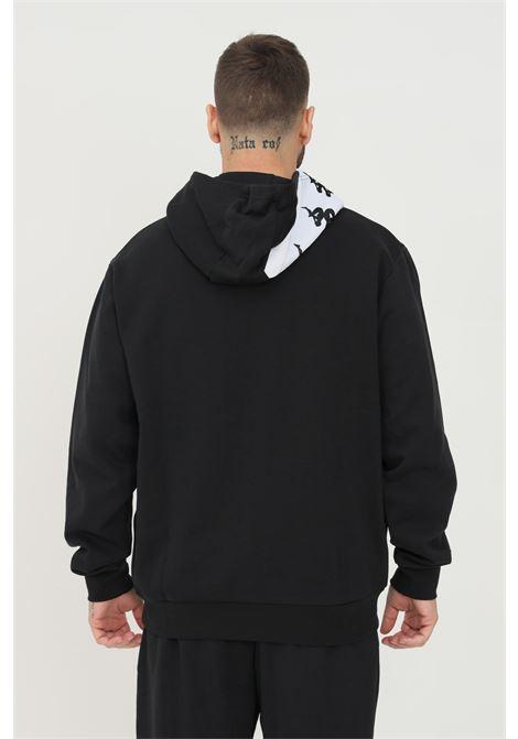 Felpa unisex nero kappa con cappuccio e banda logo a contrasto sul davanti KAPPA | Felpe | 331136WA08