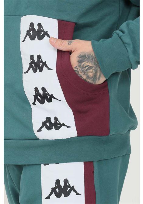 Felpa unisex ottanio kappa con cappuccio e banda logo a contrasto sul davanti KAPPA | Felpe | 331136WBX0