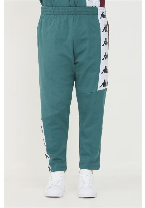 Pantaloni tuta unisex ottanio kappa con banda logo a contrasto KAPPA   Pantaloni   331187WBX0