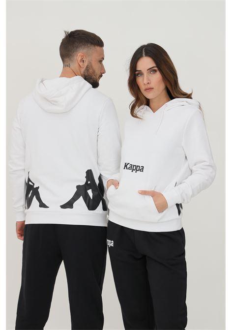 Felpa unisex bianco kappa con cappuccio e maxi profilo a contrasto sul retro KAPPA | Felpe | 34111CWA1X