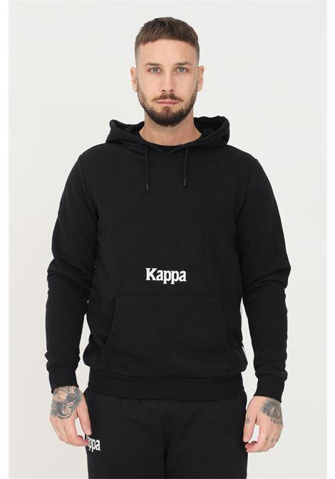 Felpa unisex nero kappa con cappuccio e maxi profilo a contrasto sul retro KAPPA   Felpe   34111CWA33