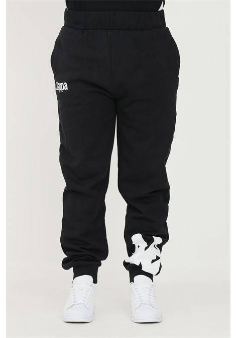 Pantaloni unisex nero kappa con maxi logo a contrasto sul fondo KAPPA   Pantaloni   341161WA33