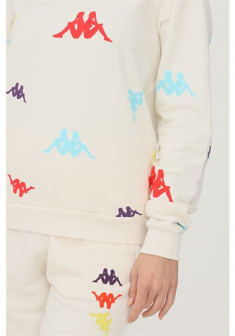Felpa unisex panna kappa con cappuccio e stampa logo multicolor KAPPA   Felpe   351261WDKK