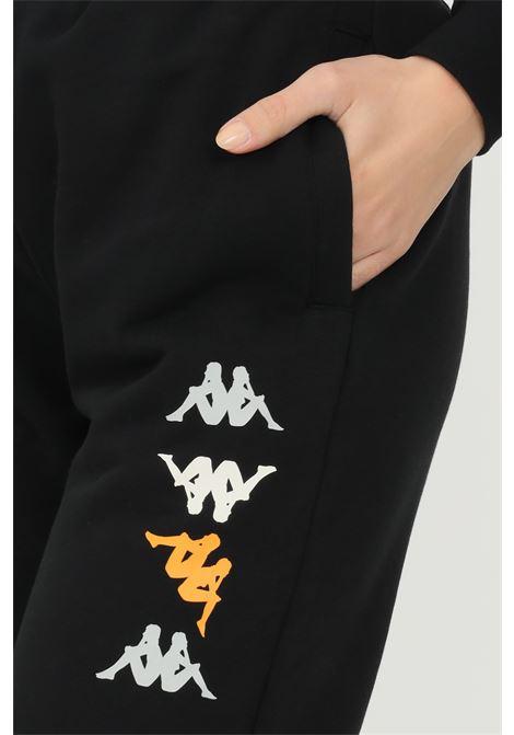 Pantaloni unisex nero kappa modello sport con logo profilo multicolor KAPPA | Pantaloni | 38197VWAKK